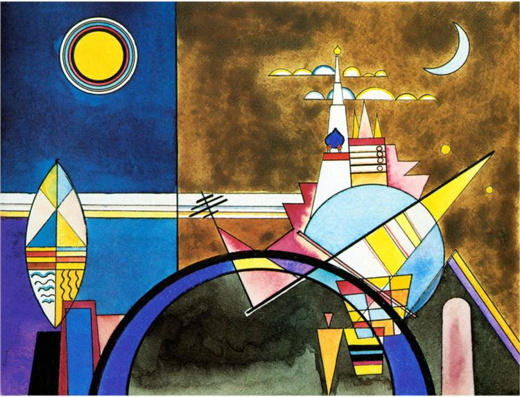 Image of Kandinsky's rendering of the Great Gate of Kiev for his Dessau Production (1928)