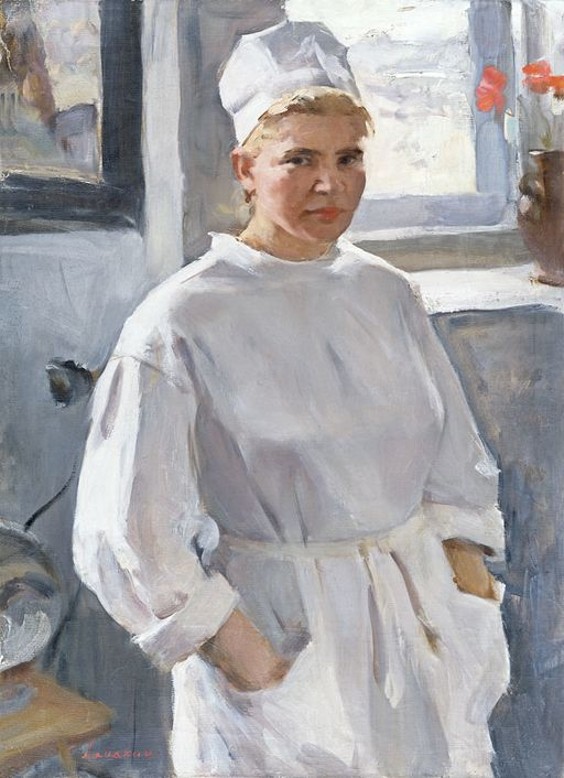 painting of a nurse in a white uniform
