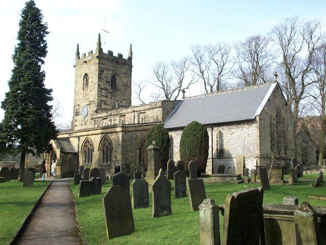 Eyam church and graveyard where plague victims are buried.