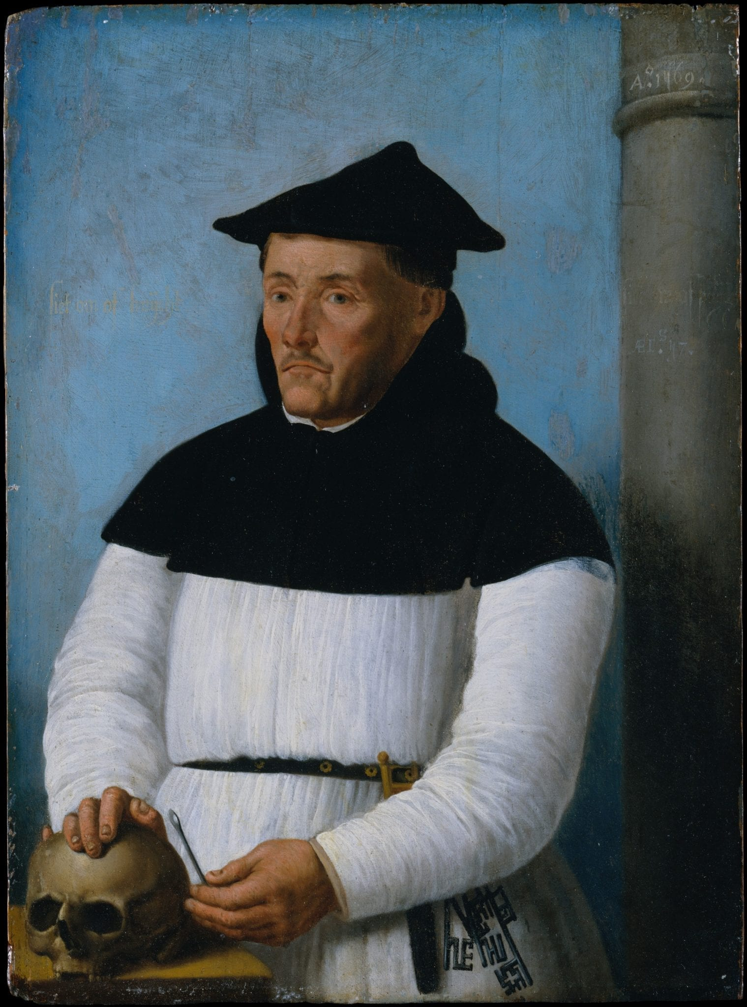A portrait of an unnamed surgeon. He is accompanied by tools of the surgeon's trade.