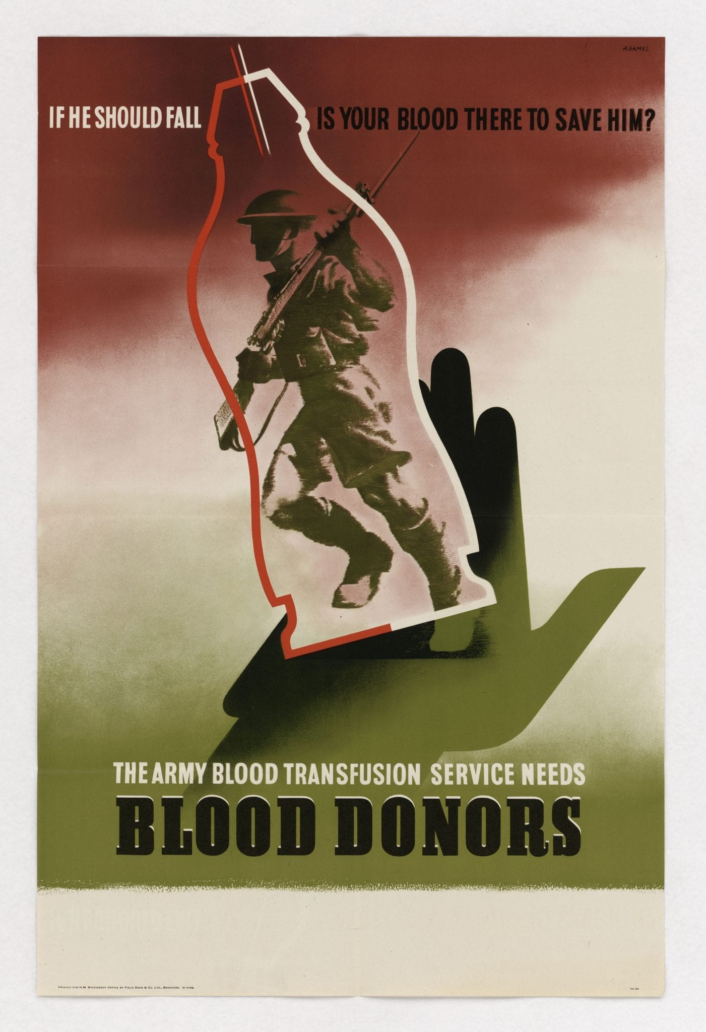 Red Cross poster calling for blood donors, though many were unable to donate because of their race