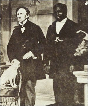 Dr. James Barry with John,a servant, and his dog, Psyche.