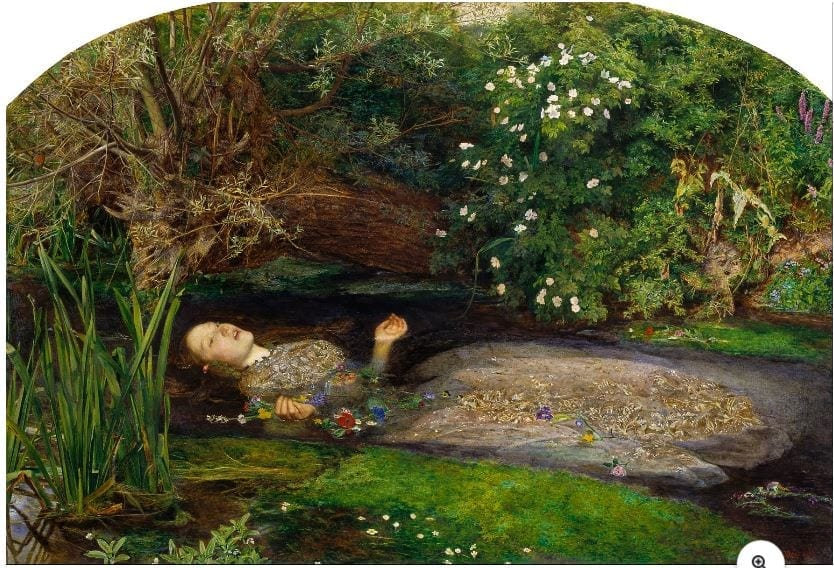 Painting of Ophelia, which set beauty standards similar to anemia