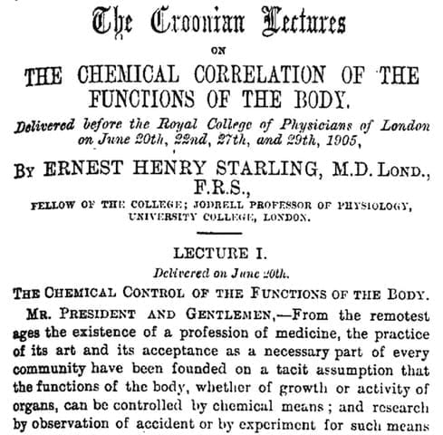 Opening of Starling's Croonian Lectures